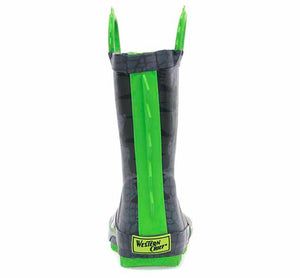 A cool rain boot for kids with 3D dino spikes on the back of the boot, scale print, and Jake the Dino's face in the front.