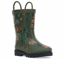 Product image of a warm rubber boot for kids with fun camp print, olive upper, and black outsole.