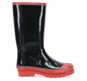 Kids solid youth rain boot in black with orange trim. Heeled orange outsole.