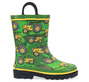 Product image of kids rubber boot with green upper, tractor print, yellow trim, and black heeled outsole.
