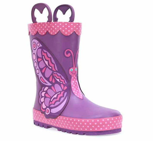 A girls rubber boot with 3D butterfly wing, pink trim with white polka dots, and a unique butterfly shaped pull handle.