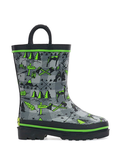 Kids Lumberjack Rain Boot - Charcoal