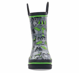 Printed rain boot with lumberjack tools - trees, axes, and more! Charcoal upper, with green and black trim accents.