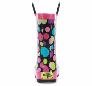 A girls rain boot printed with large and small dancing dots with pink trim, pull handles, and black outsole.