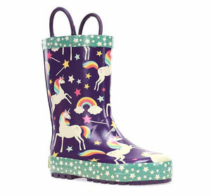 Product image of a printed rain boot for girls with adorable unicorn print, bright blue polka dot trim, and pull handles.