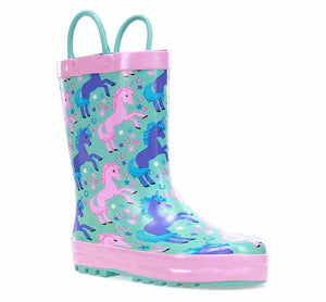 Kids Lucky Unicorn Rain Boot - Turquoise