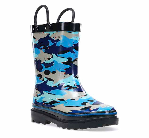 Kids Shark Chomp Rain Boot - Black