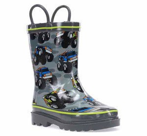 Kids Monster Truck Rain Boot - Charcoal