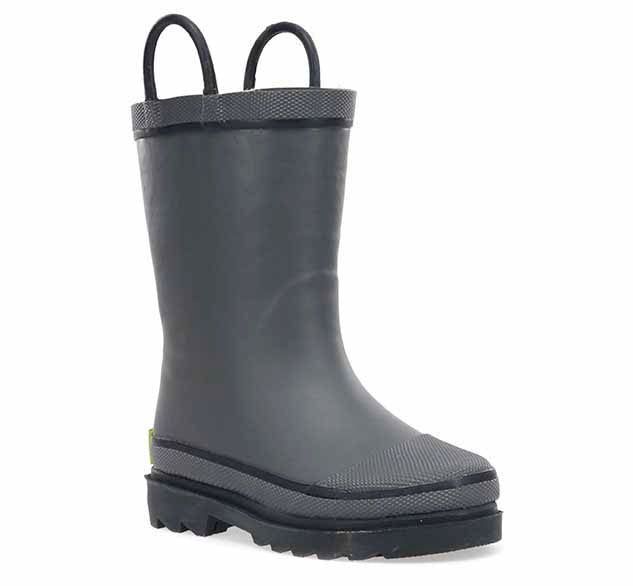 Product image of a solid rain boot for boys with charcoal upper and heeled outsole.