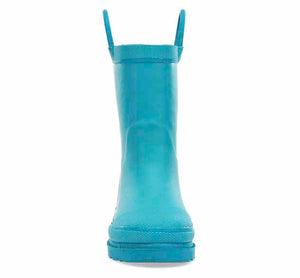 Product image of a solid plush rain boot for girls with bright teal upper and heeled outsole.