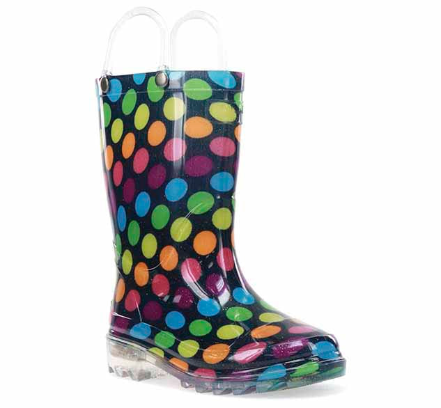 A Western Chief light up rain boot with multi-color dot print, clear outsole, and clear pull handles.