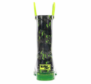 Lighted rain boots with monochromatic camo print for boys and heeled outsole.