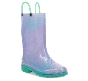 Kids Glitter Ombre Lighted Rain Boot - Teal
