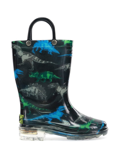 Kids Dinosaur Friends Lighted Rain Boot - Black