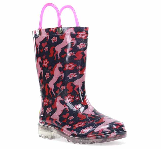 Girls lighted rain boots with horses, flowers, and hearts printed on the PVC upper. This boot has two pink handles.