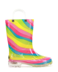 Kids Rainbow Lighted Rain Boot - Multi