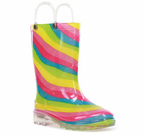 Product image of a lighted girls rain boot with rainbow print on the PVC upper, glitter, and two pull handles.