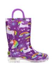 Kids Rainbow Unicorn Lighted PVC Rain Boot - Purple