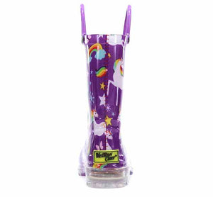 Product image of unicorn rain boots with whimsical print, light up outsole, and two pull handles.