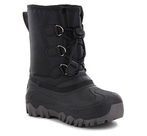 Boys winter boots with a black nylon upper, pull tab, and gore opening with laces.