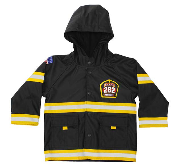 Kids F.D.U.S.A. Firechief Rain Coat - Black
