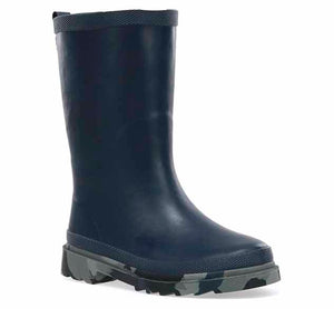 Youth rain boot with navy rubber upper, pull tab, green Western Chief logo, and grey camo print on the outsole.