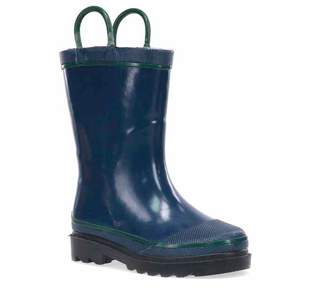 Product image of a boys navy rain boot with two pull handles and black heeled outsole.
