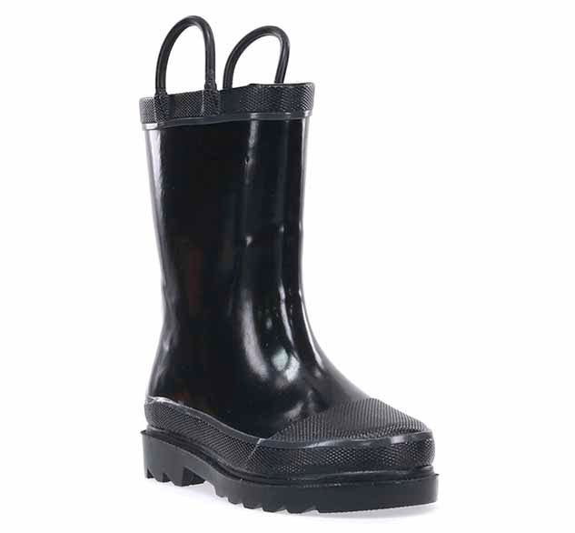 Black solid rain boot for boys with two pull handles, fabric lining, and completely waterproof rubber.