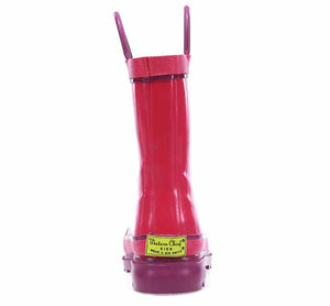 Product image of a solid pink girls rain boot with purple accents on the trim, purple pull handles, and rubber outsole.