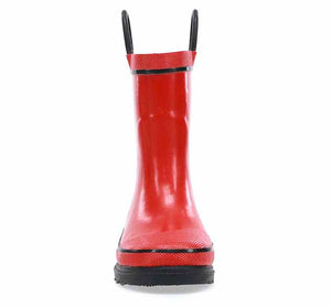 Toddler rain boot for boys with solid red upper, small black trim, black heeled outsole, and two pull handles.