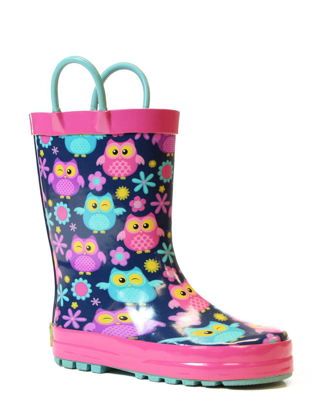 Kid's Flower Owls Rain Boot - Pink - Western Chief