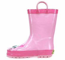 A kids pink rain boot with two pull handles, a cute dark pink paw print, and Khloe the Kitty's smiling face on the upper.