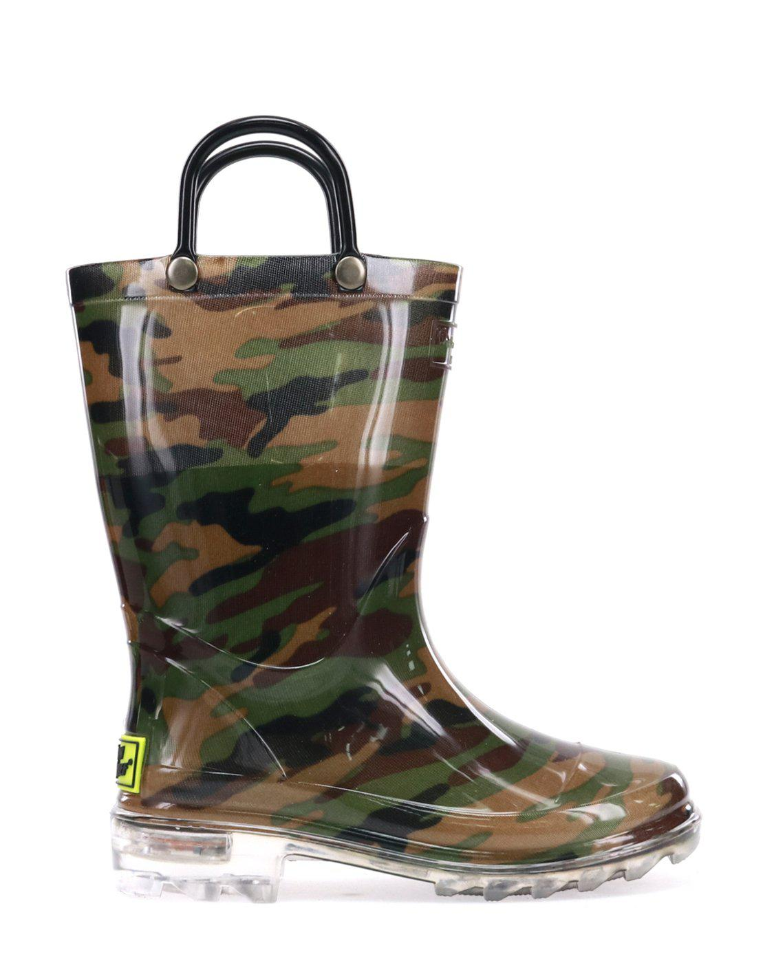 Western Chief Toddler Boy/'s Lighted Camo Green//Camouflage Light-Up Rain Boot