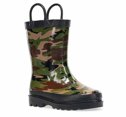 Kids rain boot with green and brown camo print, two handles, black trim, and black outsole.