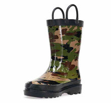 Kids rain boot with green and brown camo print, two pull handles, black top trim, and black outsole.