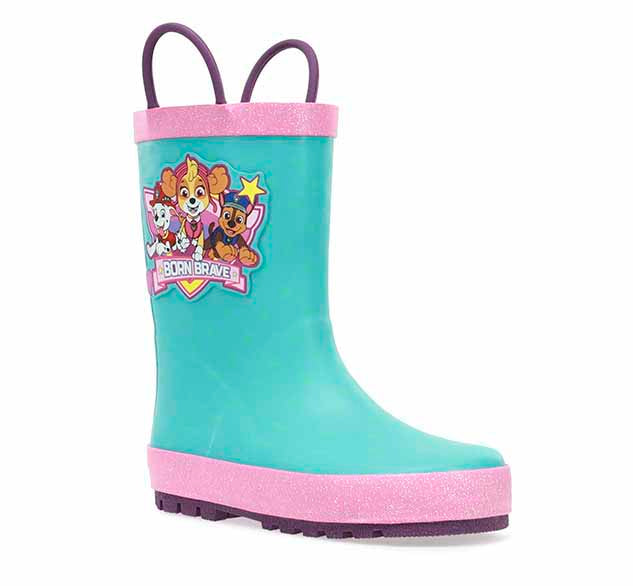 Girls toddler rain boot with the Paw Patrol girls on the side, a teal upper with pink trim, and two pull handles.