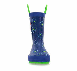 Boys toddler rain boot featuring your favorite Paw Patrol squad! Has a navy upper, print accents, and green pull handles.