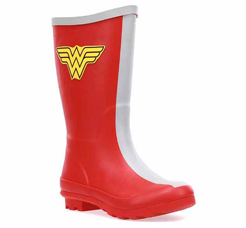 Youth girls rain boot with Wonder Woman symbol, grey stripe in front and grey trim, and a heeled outsole.