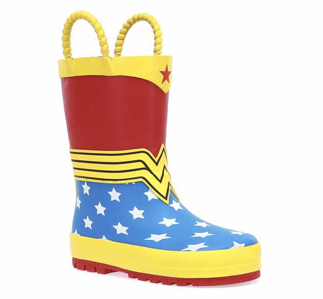 Product image of Wonder Woman boot with rubber upper, two pull handles, and attachable cape.