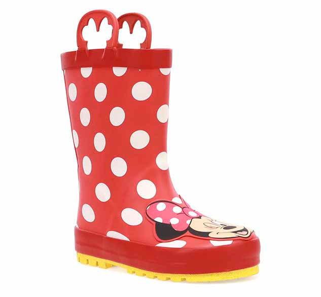 Disney rain boots featuring the iconic Minnie Mouse! Her face is front and center on the boot. The upper has polka dots!