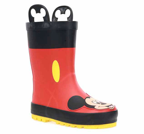 Mickey Mouse rain boots with red upper, black trim, yellow dot on sides, and Mickey's iconic face front and center on boot.