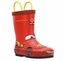 Product image of Lightning McQueen rain boot with his car and face on the upper, his signature, and checkered flag lining.