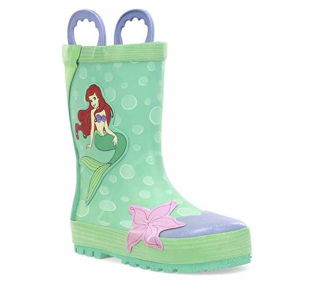Ariel rain boots with iconic character on side surrounded by bubbles and a 3D flower.