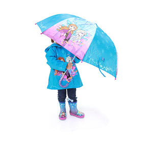 Kids Frozen 2 Fearless Sisters Umbrella - Turquoise