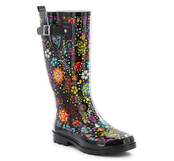 Womens Garden Play Rain Boots - Black