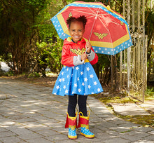 Model wearing the Wonder Woman Rain Gear Set in red.