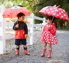 Boy and girl wearing Minnie and Mickey Mouse Western Chief Rain Gear Sets.
