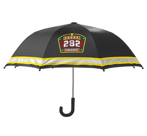 Product image of kids umbrella in black with F.D.U.S.A 282 logo and yellow stripe.