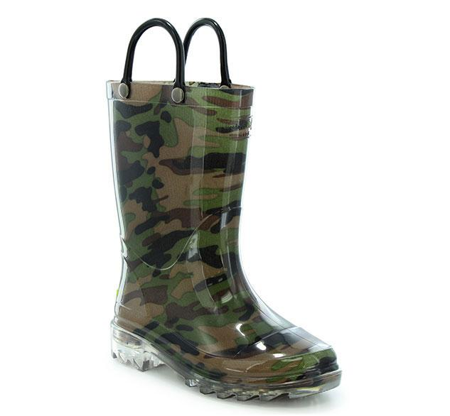 Camo rain boot for boys with light up outsole, PVC upper, and two pull handles.