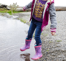 Girl stepping into water with Betty Butterfly Rain Boots and a warm outfit.
